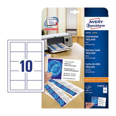 Névjegykártya AVERY C32010-10 mikroperforált él kétoldalas matt fehér él 185gr 100 címke/csomag