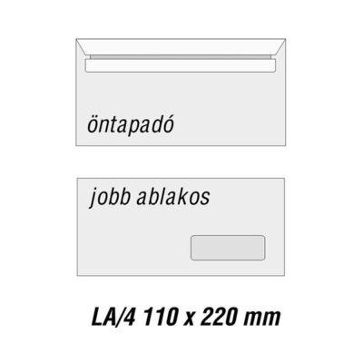 Boríték GPV LA/4 szilikonos bélésnyomott 110x220mm jobb ablakos 35x90mm J20A20 1000 db/doboz