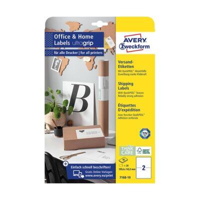 Etikett AVERY 7168-10 199,6x143,5mm 20 címke/doboz 10 ív/doboz