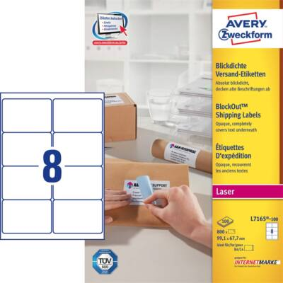 Etikett AVERY L7165-100 99,1x 67,7mm univerzális fehér 800 címke/doboz 100 ív/doboz