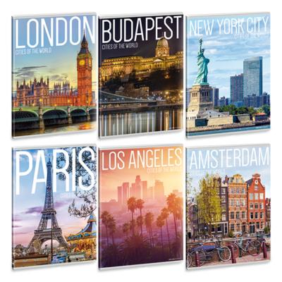 Füzet ARS UNA A/4 40 lapos Extra kapcsos sima Cities of the world 21