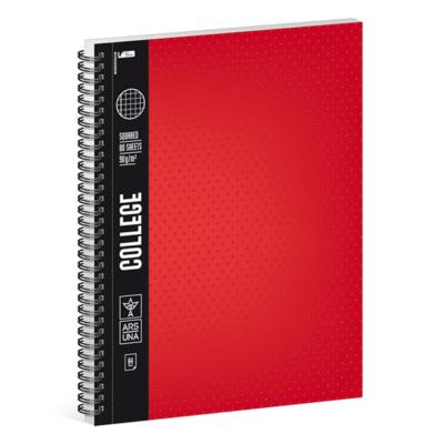 Spirálfüzet ARS UNA College A/4 80 lapos kockás piros