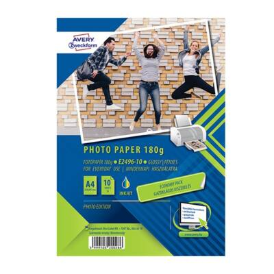 Fotópapír AVERY E2496-10 Economy 180g fényes A/4 inkjet nyomtatóhoz 10 ív/doboz