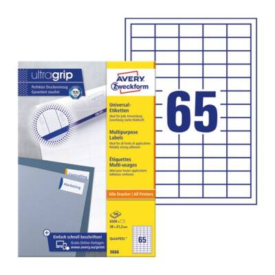 Etikett AVERY 3666 38x21,2mm univerzális 6500 címke/doboz 100 ív/doboz