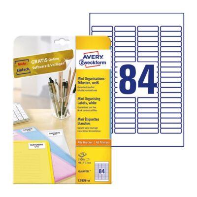 Etikett AVERY L7656-25 46x11,1mm 2100 címke/doboz 25 ív/doboz