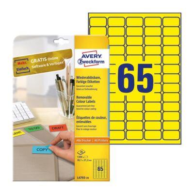 Etikett AVERY L4793-20 38,1x21,2mm sárga 1300 címke/doboz 20 ív/doboz