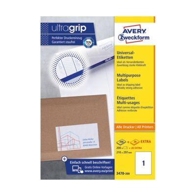 Etikett AVERY 3478-200 210x297 mm fehér univerzális 220 címke/ doboz 200+20 ív/doboz