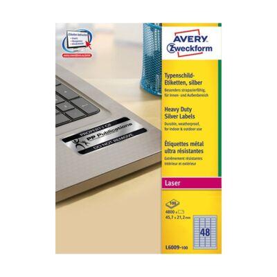 Etikett AVERY L6009-100 45,7x21,2 mm ipari ezüst poliészter 4800 címke/doboz 100 ív/doboz
